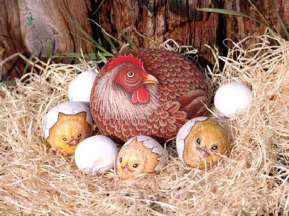 Mother Hen & Her Chicks...these are the BEST Rock Painting Ideas!