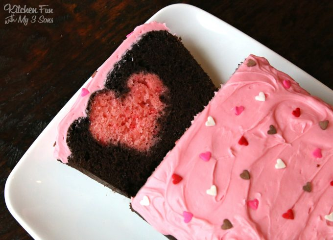 Valentine Surprise Cake...using a chocolate loaf cake! Such a fun & easy idea for Valentine's Day!