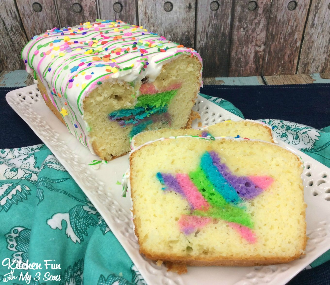 Christmas Loaf Cake Decoration : Rainbow Surprise Loaf Cake - Kitchen Fun With My 3 Sons