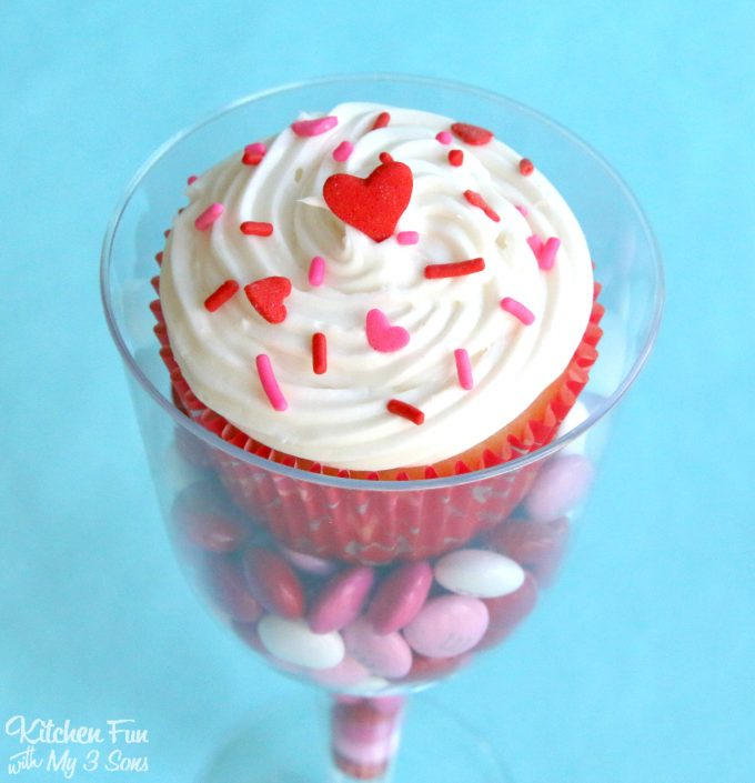 Rock Candy Filled Champagne Glasses: Valentine Cupcakes Served In Plastic Wine Glasses And