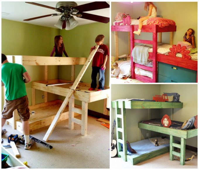 Epic DIY Triple Bunk Beds these are the BEST Bunk Bed Ideas