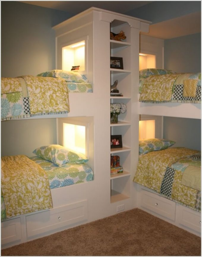 Double Bunk Beds with Shelving...these are the BEST Bunk Bed ideas!