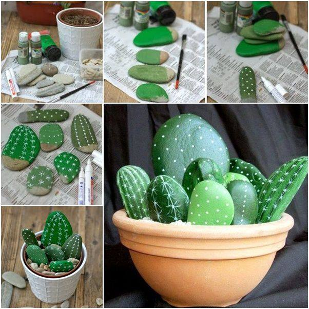 Excellent Diy Cactus Potthese Are The Best Rock Painting Ideas With Painted Turtle