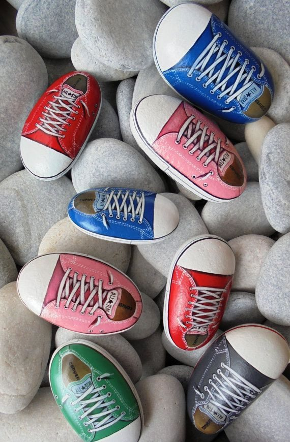 Converse painted rocks these are the best rock painting ideas