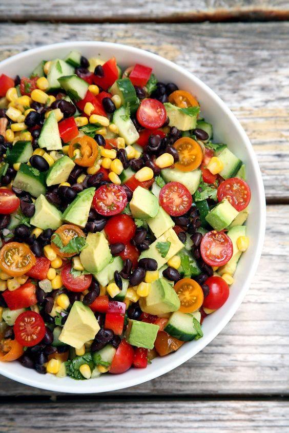 Cucumber, Black Bean, Corn, Tomato, and Avocado Salad