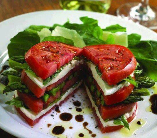 Tomato, Mozzarella, and Asparagus Stacked Salad