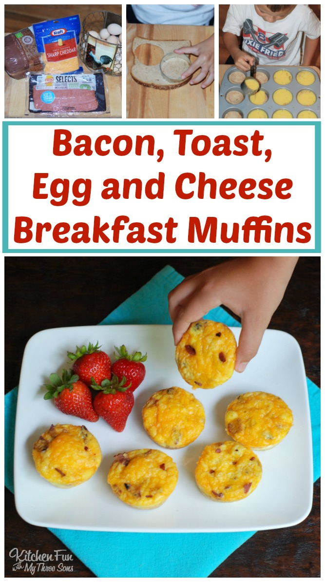 Bacon, Toast, Egg, and Cheese Breakfast Muffins