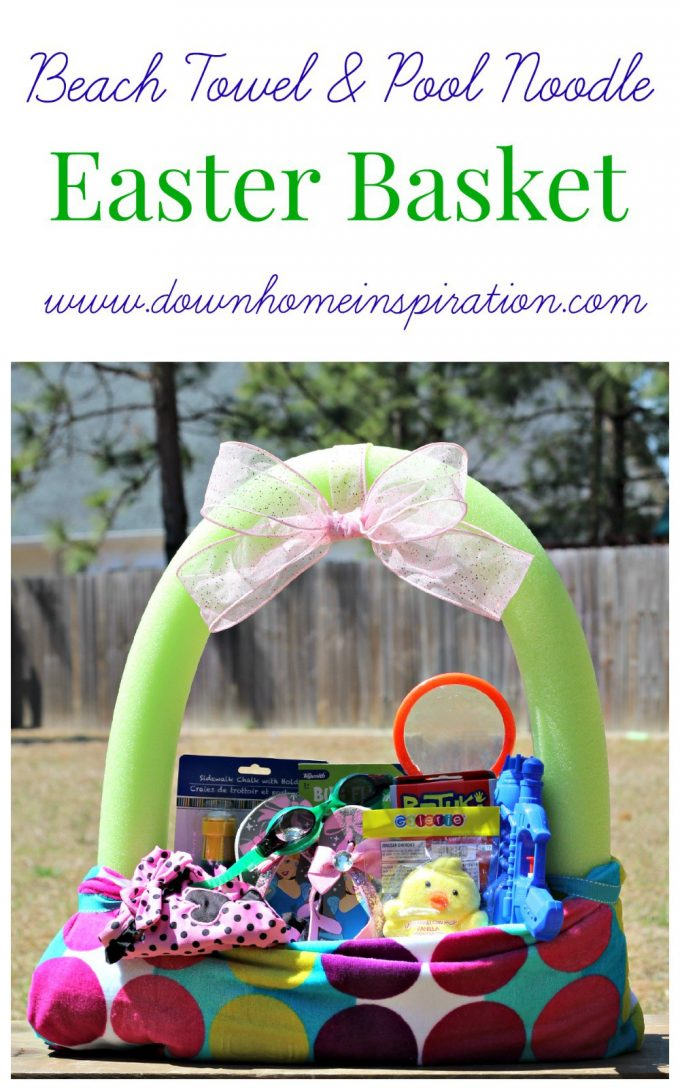 Beach Towel & Pool Noodle Basket...these are the BEST Easter Basket Ideas!