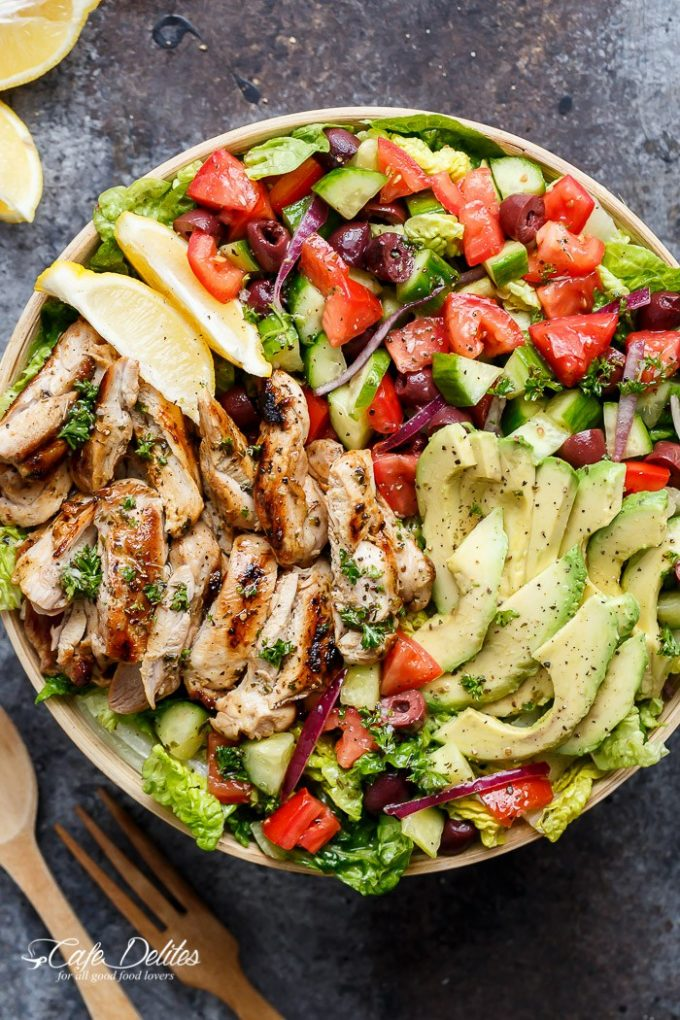 Grilled Lemon Herb Mediterranean Chicken Salad...these are the BEST Salad Recipes!