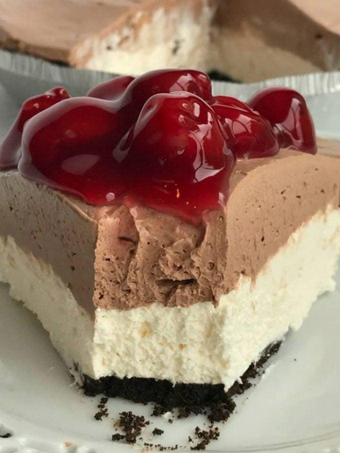 No-Bake Black Forest Cheesecake Pie