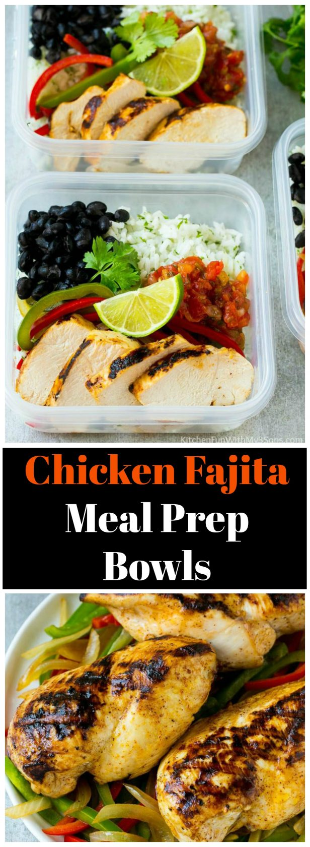 These chicken fajita meal prep bowls are loaded with marinated chicken, colorful veggies, black beans and cilantro lime rice. An easy and healthy lunch option and it makes a great family meal too!