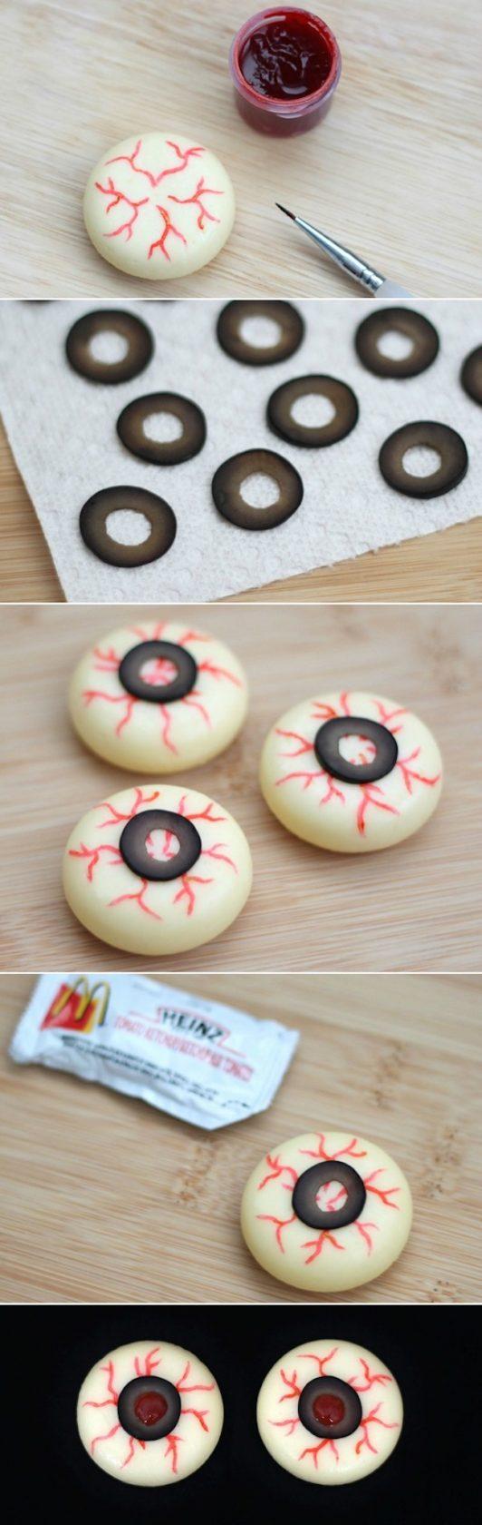 Eyeball Cheese Snack for Halloween!