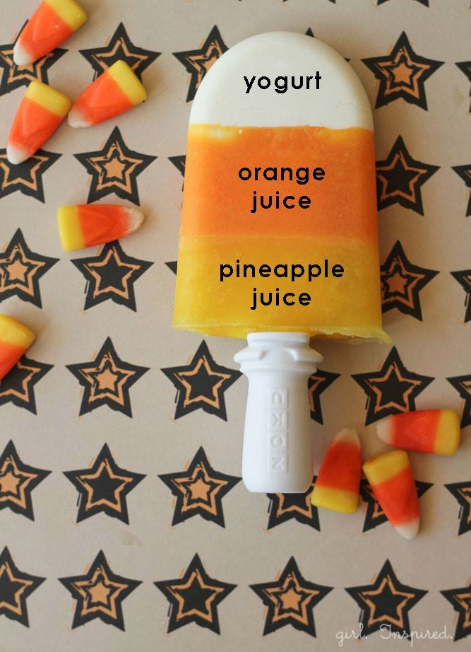 Candy Corn Popsicles for Halloween!