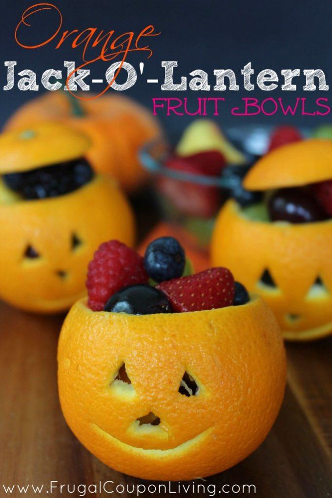 Halloween Orange Jack-O-Lantern Fruit Cups