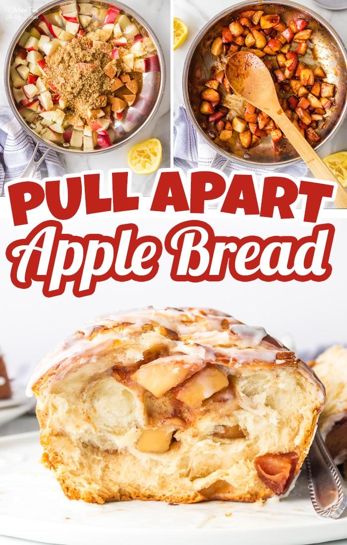 Apple Pull Apart Bread is the perfect recipe to make on an Autumn day after a day of apple picking. Flaky biscuits with fresh apples coated in sugar and spices all topped with a delicious glaze.