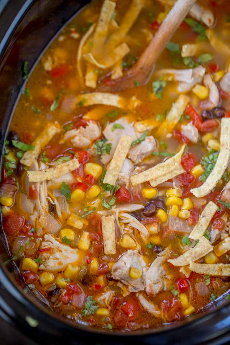 Slow Cooker Chicken Tortilla Soup - Kitchen Fun With My 3 Sons