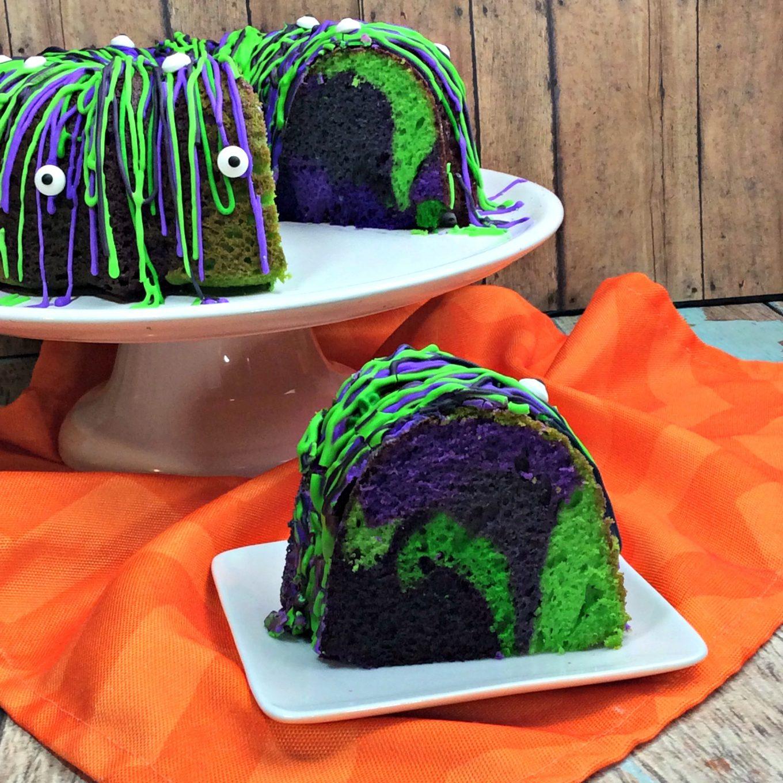 halloween monster bundt cake - kitchen fun with my 3 sons