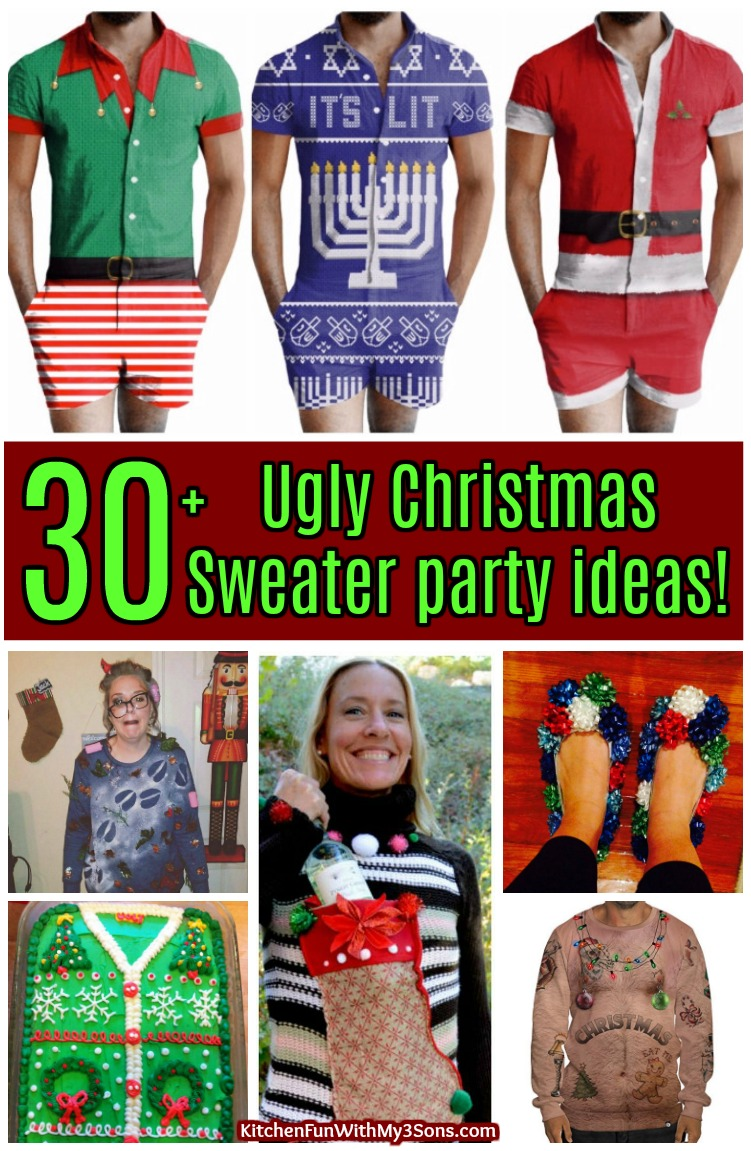28db1f3eb 30+ Ugly Christmas Sweater Party ideas - Kitchen Fun With My 3 Sons