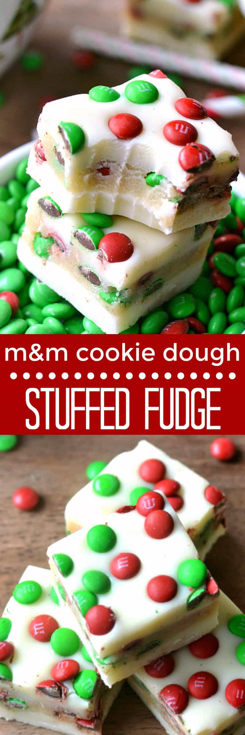 M&M Cookie Dough Stuffed Fudge - The BEST Holiday Fudge Recipes!