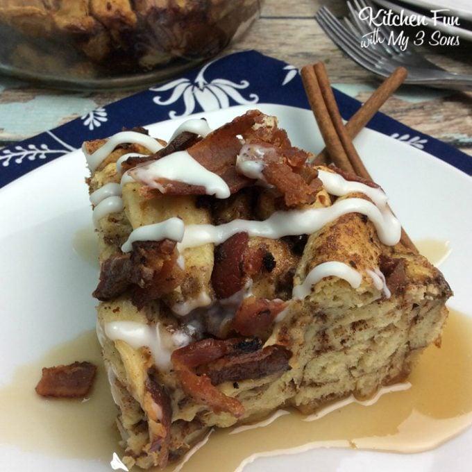 Bacon Cinnamon Roll French Toast Casserole
