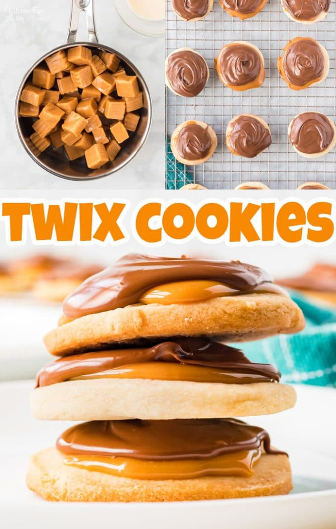 Twix Cookies are delicious shortbread cookies topped with caramel and milk chocolate that tastes just like the beloved Twix candy bar. #Recipes #Cookies #Dessert