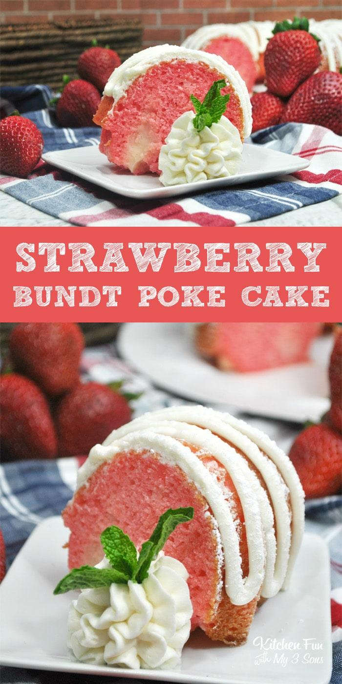 Strawberry And Cream Bundt Poke Cake