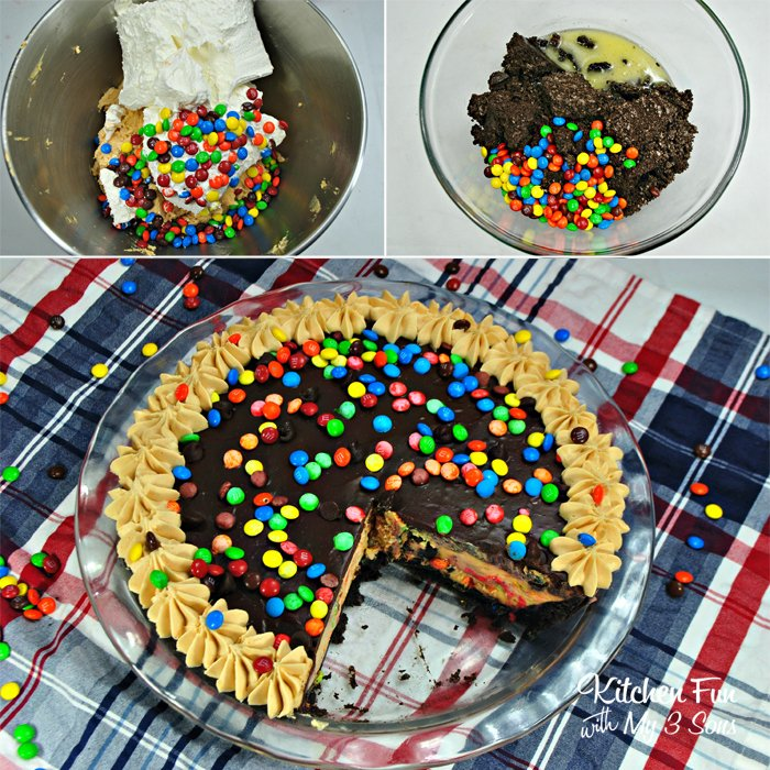 No-Bake M&M Chocolate Peanut Butter Pie