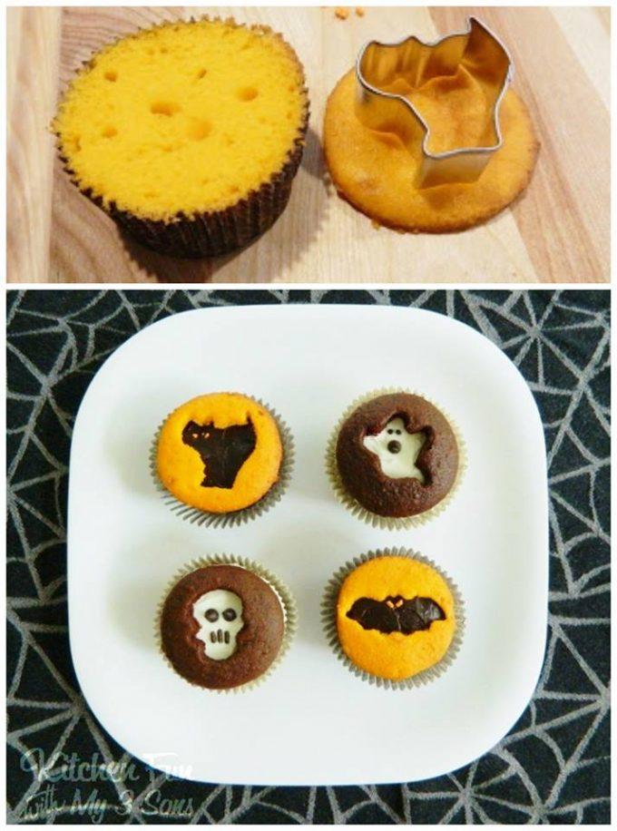 Halloween Cookie Cutter Cupcakes - BEST Halloween Treat ideas!