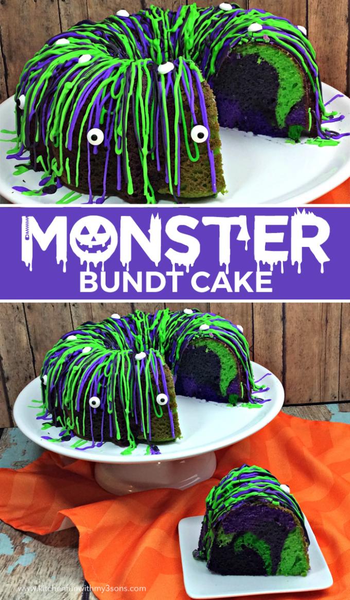 Monster Bundt Cake - BEST Halloween Treat ideas!