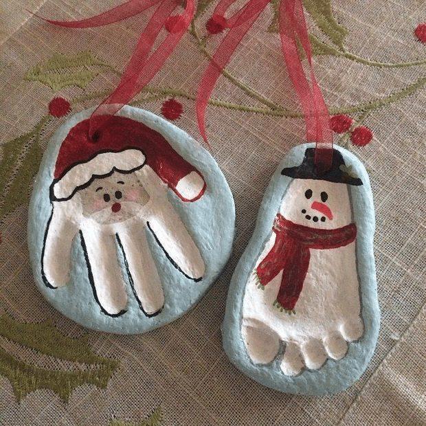 Santa and Snowman Handprint and Footprint Keepsake Ornaments - Over 30 of the BEST Christmas Salt Dough Ornaments