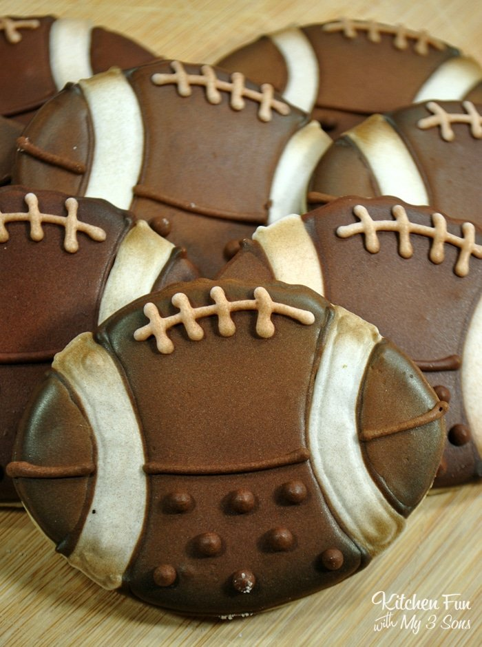 Football cookies are perfect for football season and the Super Bowl, of course. But they're also great for football themed birthday parties all year long!