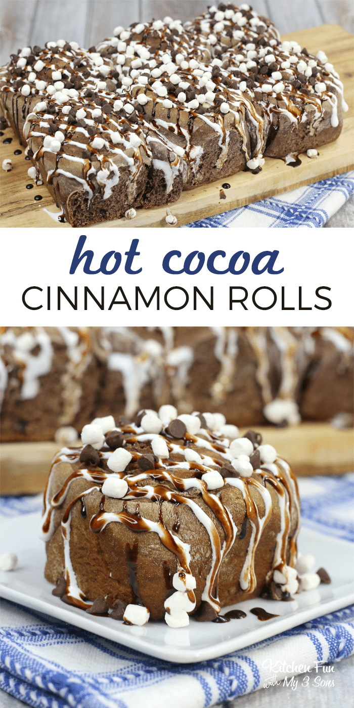 Hot chocolate cinnamon rolls are a delicious warm morning treat. With marshmallow cream and chocolate sauce, you will never want a regular cinnamon roll again!