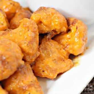 These skinny buffalo wings aren't actually wings. They're made of cauliflower! They are a great keto recipe and taste totally amazing.