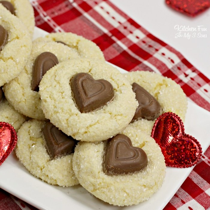 Valentines day White Chocolate Crinkle Cookies