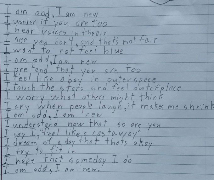 Boy with Aspergers Writes Poem for Homework, Perfectly Describes What It's like to Live with Autism