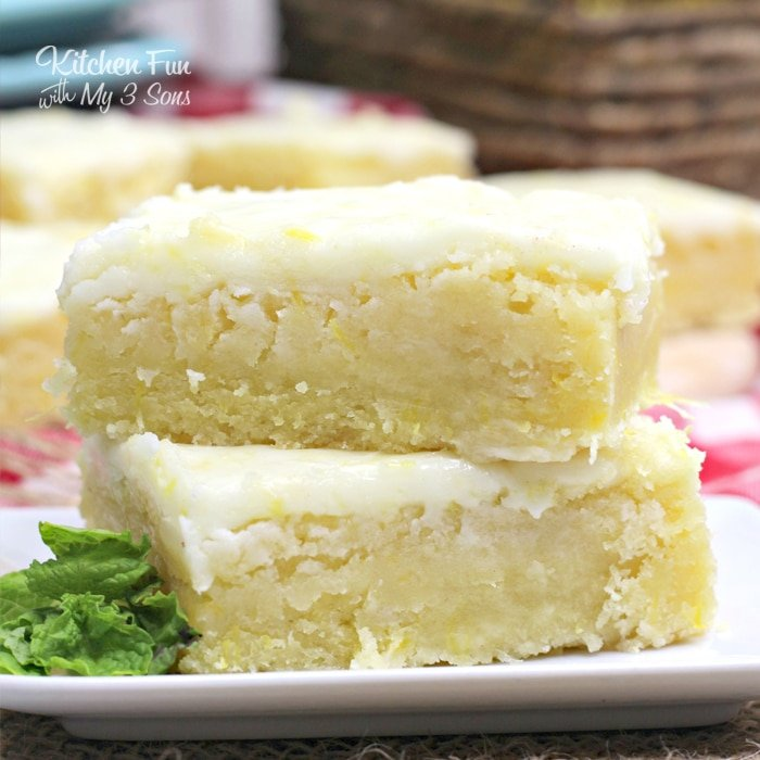 Lemon Brownies on a plate