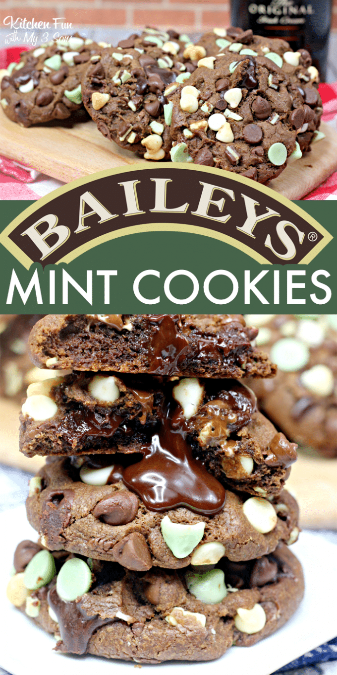 Baileys Fudge Mint Cookies are so delicious. Baileys is perfect in this cookie. The smooth richness of the Irish whiskey paired with the sweetness of the cocoa and sugar cane and the velvety taste of the Irish cream make it a mouthwatering companion to the Andes mint.