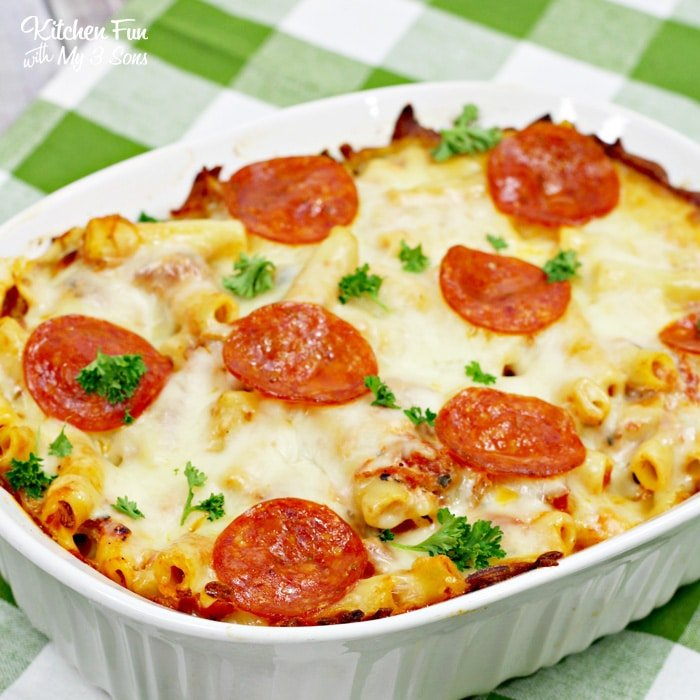 This Pepperoni Pizza Baked Ziti recipe is a great dinner recipe for busy nights that the whole family loves.