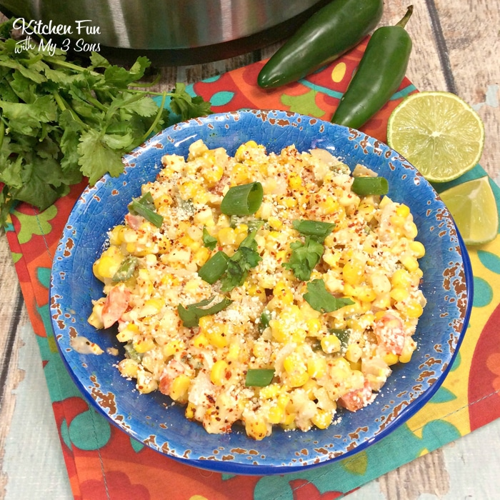 Mexican Corn in the Instant Pot is a delicious dinner side dish with a kick. This will go perfect with your next Mexican feast.