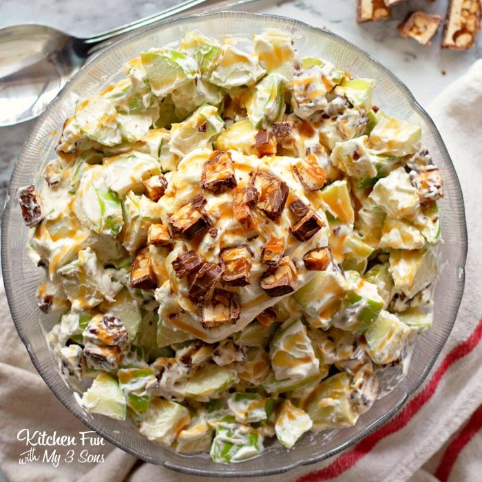 Snicker Apple Salad is an incredibly easy dessert that is a hit with everyone. This is my go-to treat for every BBQ I ever attend!