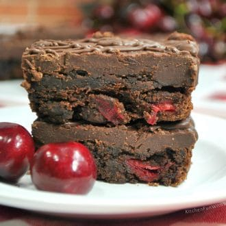 Fudge Brownies with Cherries