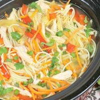 Asian Chicken Noodle Soup in the slow cooker is one you'll definitely add to your homemade soup rotation.