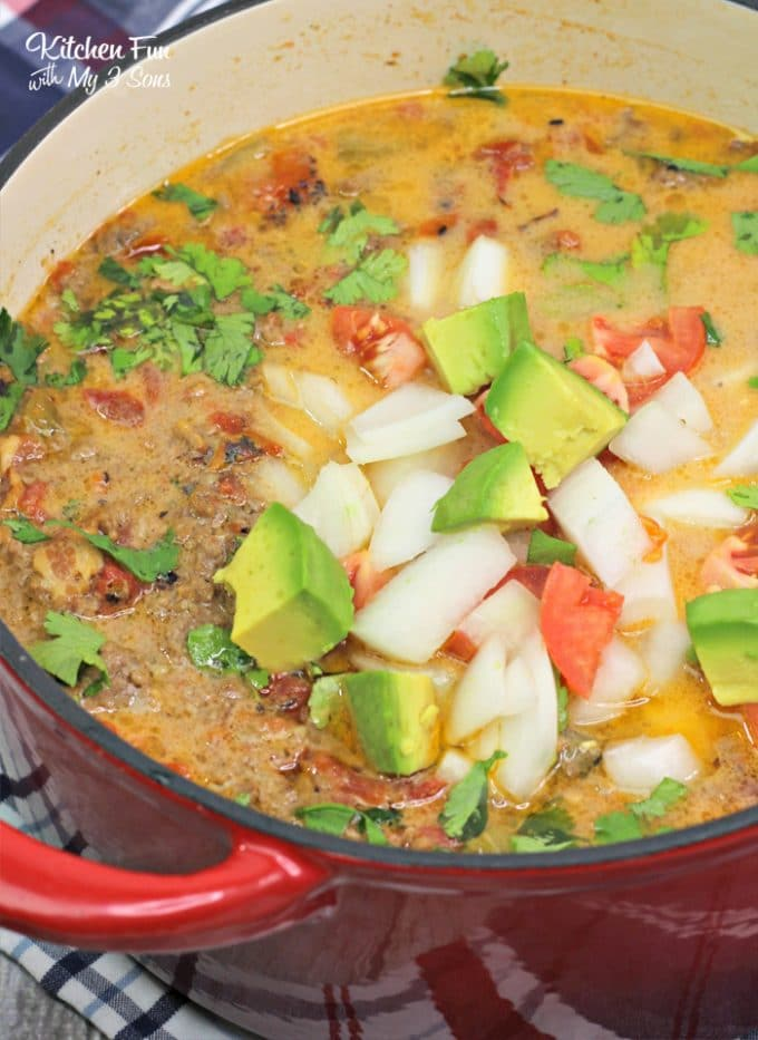 Enchilada Soup is inexpensive, easy & uses ingredients you likely already have. Get out your slow cooker and let's make a soup that's a favorite for so many families.