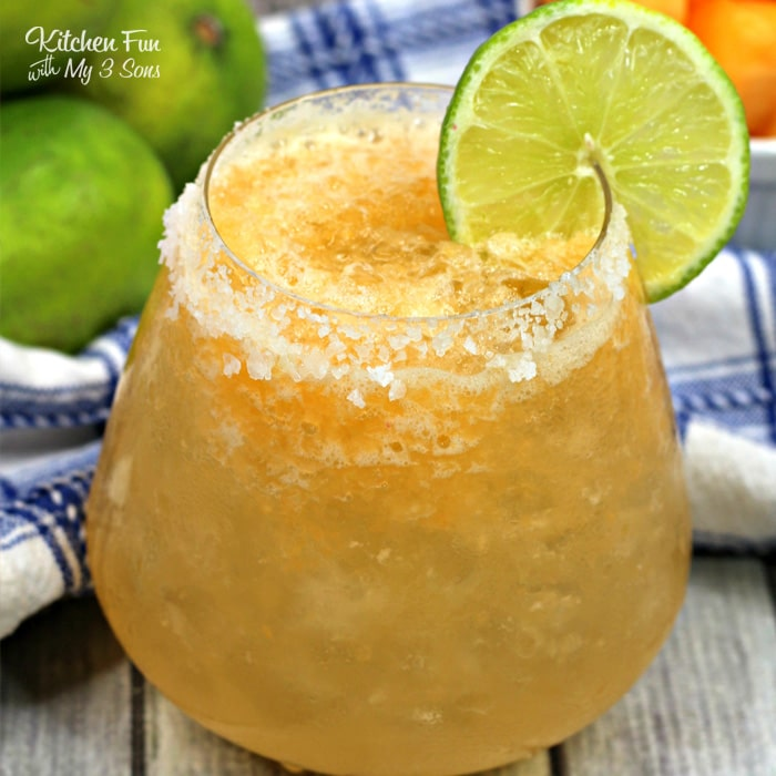 This Skinny Cantaloupe Margarita is a blended drink with actual cantaloupe pieces inside. It's easy to make and will be the hit of your next get together!