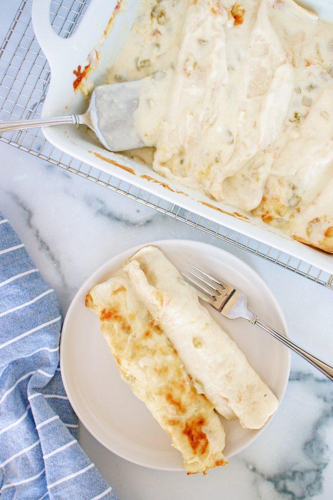 White Chicken Enchiladas on a Plate