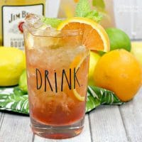 A delicious fruit infused tea with Bourbon. This Back Porch Bourbon Tea drink recipe is so tasty.