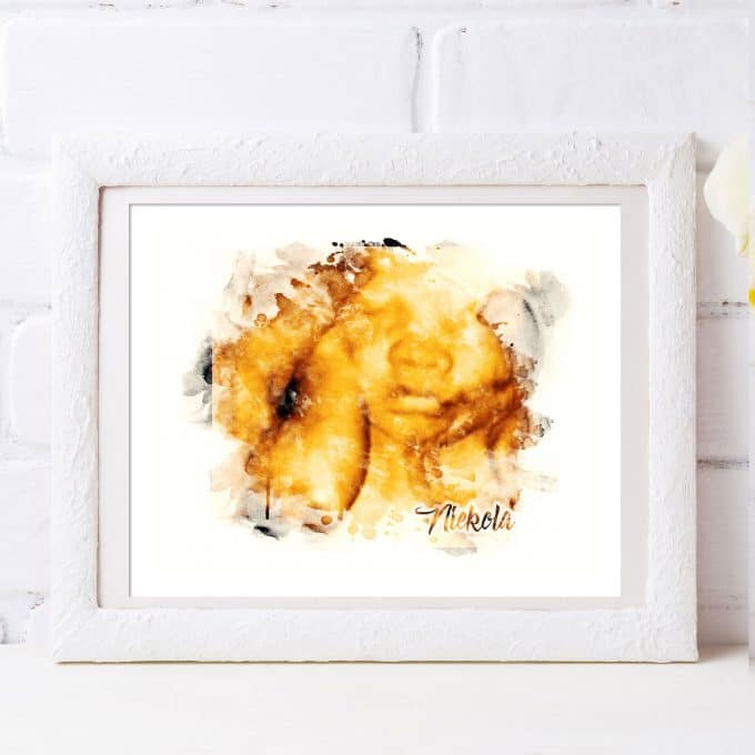 Custom Watercolor 3D Ultrasound Art Print