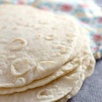 Homemade flour tortillas are so delicious! Once you eat freshly made flour tortillas made at home, you'll never want to go back.