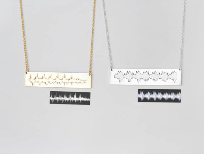 Actual Heartbeat Ultrasound Bar Necklace