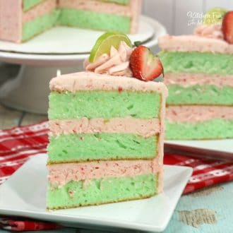 Delicious Strawberry Lime Cake with an easy lime green cake and homemade strawberry frosting. | Yummy cake recipe.